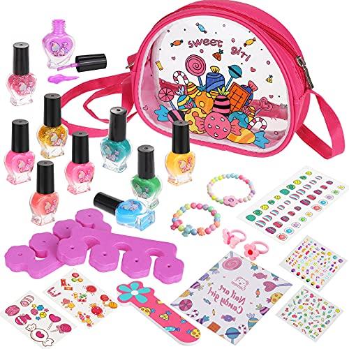 Gemeer Kit de Manicura para Niños, Juego de Esmalte de Uñas de Secado Rápido, Juguetes Niña Rainbow Candy Colors Pintauñas con limas de uñas de bonificación