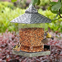 Twinkle Star Wild Bird Feeder Outdoor Hanging for Garden Yard Outside Decoration, Hexagon Shaped with Roof, Silver