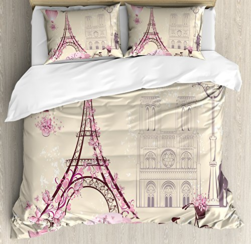 Ambesonne Kiss Duvet Cover Set, Floral Pariss Landmarks Eiffel Tower Hot Air Balloon Bicycle Romantic Couple, Decorative 3 Piece Bedding Set with 2 Pillow Shams, Queen Size, Ivory Pink
