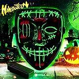 TTCOTOKE Máscara de Halloween, la Purga Mascara LED, LED Máscaras Halloween 3 Modos de Iluminación, Brilla en la Oscuridad para Navidad, Scary Halloween Disfraz, Cosplay, Grimace Festival