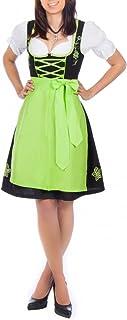 dirndl grün damen Edelnice Trachtenmode Mini Dirndl 3-TLG. schwarz grün mit passender Bluse und Schürze Gr. 32-56
