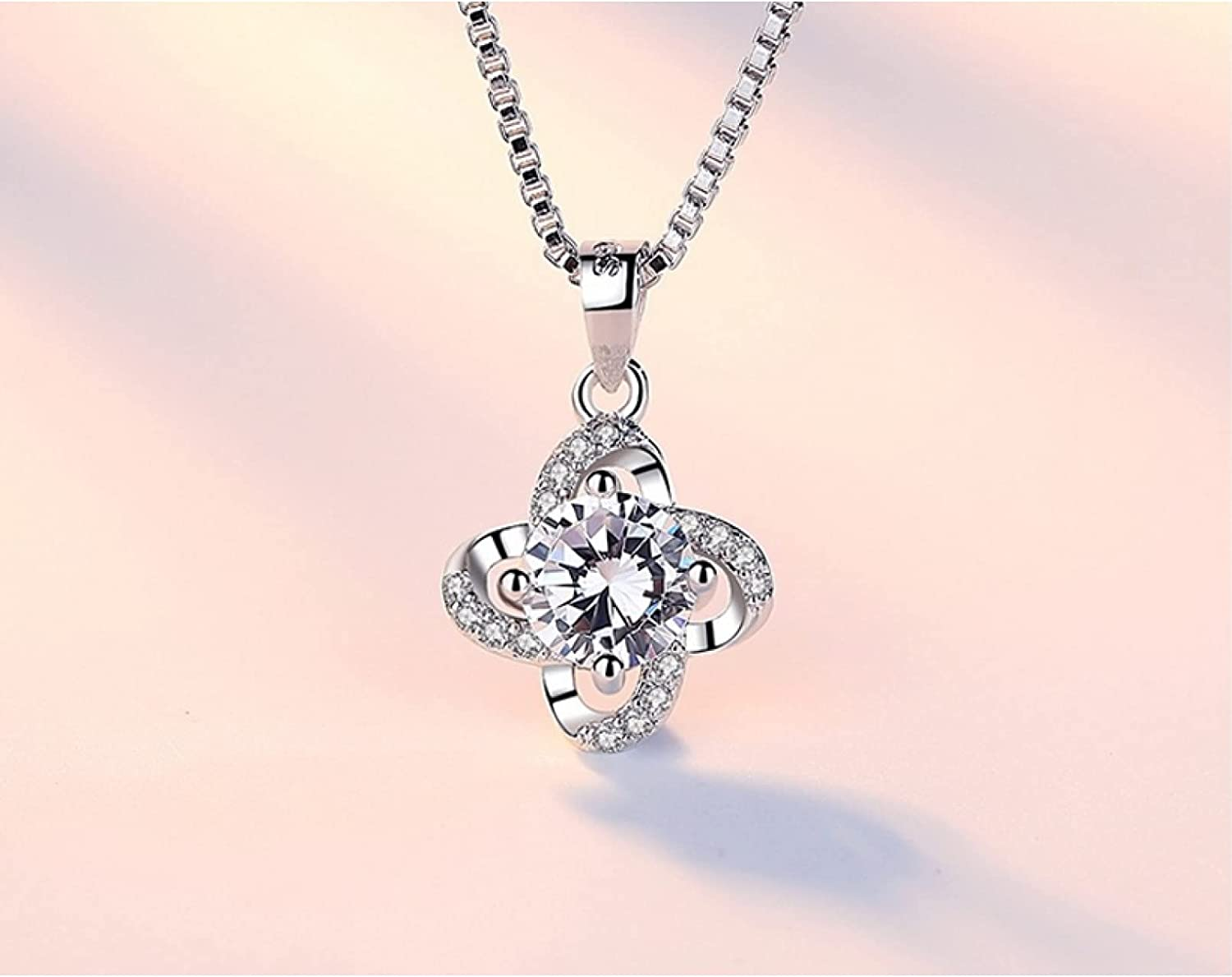 WDBUN Necklace Pendant Zircon Clover Flower Twist Windmill Forever Pendant Neckace Chain Necklace collares Christmas Mother's Day Valentine's Day Birthday Gift