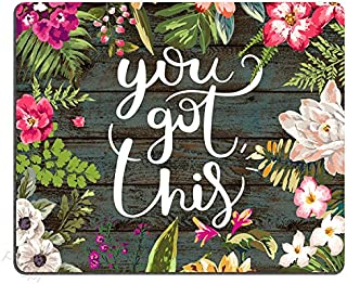 Pingpi Floral Mouse Pad Motiavation Quote You Got This Neoprene Inspirational Quote Mousepad Office Space Decor Home Offic...