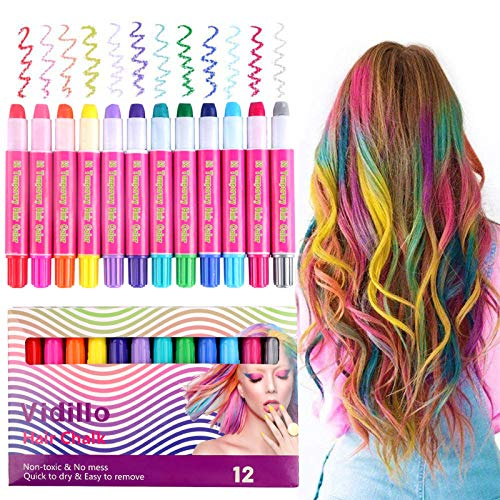 Hair Chalk Color Set for Girls Kids Christmas Birthday Gifts, 12 Colors Temporary Non-Toxic Portable Hair Chalk Pens For Party and Cosplay DIY Present, Washable Hair Color Safe For Kids And Teens