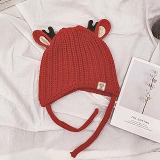 JJSPP Baby girl Beanies Cartoon Small antlers Winter Child knit hat kids girls Earflap Caps