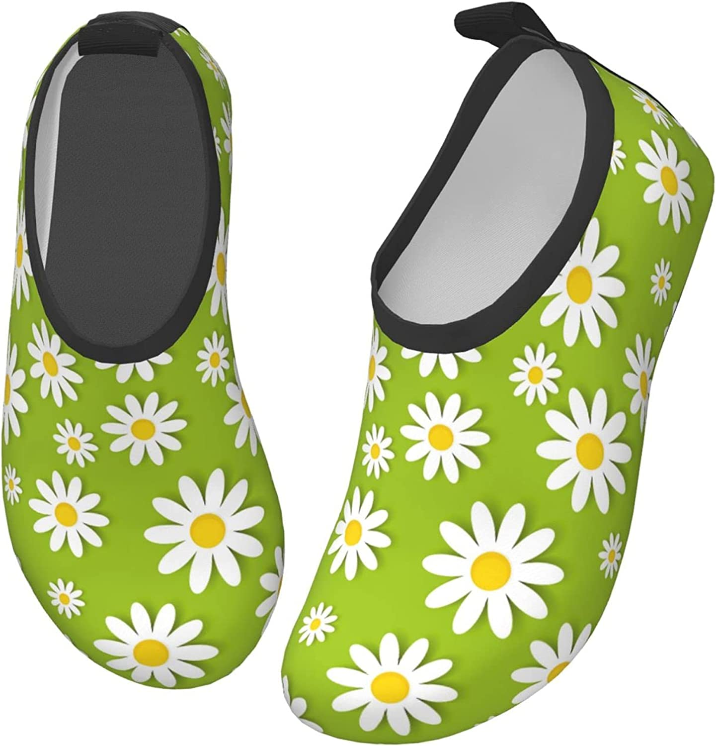 Green Daisy Flower Hawaii Beautiful Children's Water Shoes Feel Barefoot for Swimming Beach Boating Surfing Yoga
