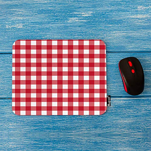 Mugod Plaid Mouse Pad Red Plaid Checkered Gingham Pattern Decor Gaming Mouse Pad Rectangle Non-Slip Rubber Mousepad for Computers Laptop 7.9x9.5 Inches