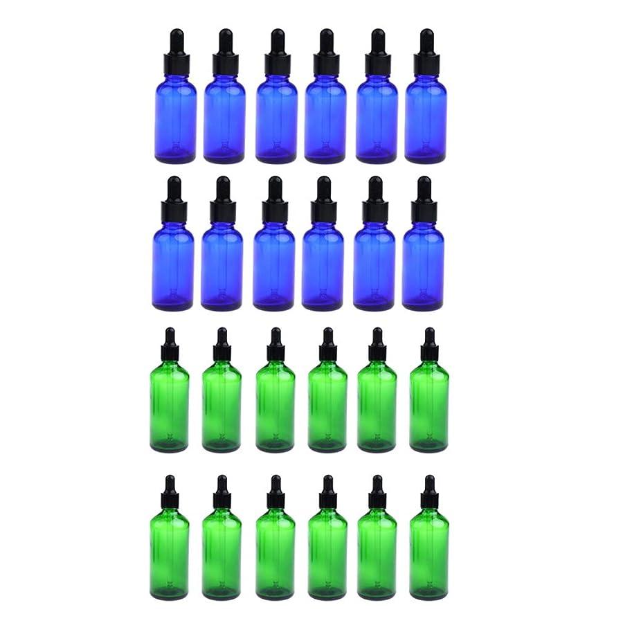 農場お茶平方D DOLITY 24個 ガラス瓶 アロマボトル 空のボトル 精油瓶 遮光ビン エッセンシャルオイル 詰替え 液体容器 30ミリ 緑+青