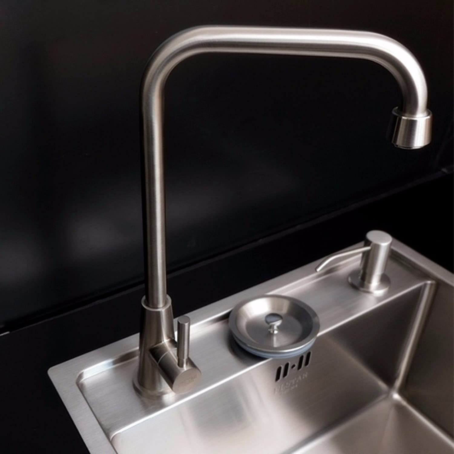 Commercial Single Lever Pull Down Kitchen Sink Faucet Brass Constructed Polished Stainless Steel Kitchen Faucet, Balcony Single Cold Faucet, redating Single Handle Single Hole Faucet