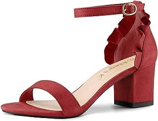 Women's Ruffle Ankle Strap Block Heel Sandals