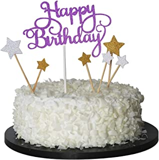 Sunny ZX Happy Birthday Cake Topper First Birthday Cupcake Topper, Glitter Decoration