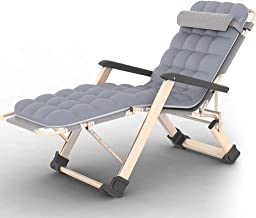 High-quality recliner Zero Gravity Chair Balcony Recliner, with Thick Cotton Pad Portable Zero Gravity Folding Bed Deck Chair Double Oxford Cloth Lounger Chair Sun Lounger (Color : Gray)