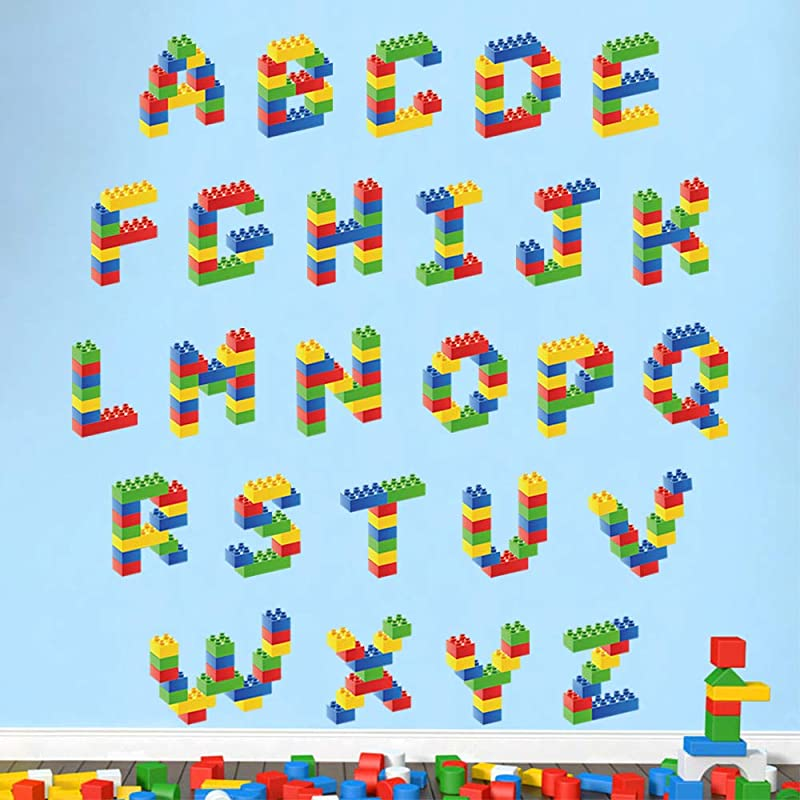Decalmile Building Blocks Alphabet ABC Kids Wall Stickers Baby Educational Letters Wall Decals Childrens Room Classroom Decoration