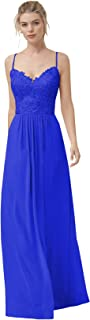 Women's Long Lace Chiffon Bridesmaid Dresses A-Line Spaghetti Straps V-Neck Formal Prom Gowns