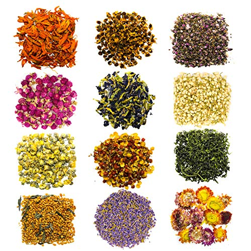 Dried Herbs and Flowers for Witchcraft and Spells - 12 Mini Kit Dry Flower Jasmine Lavender - Great Witch Soap Fragrances Essential Oil Candle Resin Jewelry Aroma Bath Bombs Lip Gloss Making Supplies