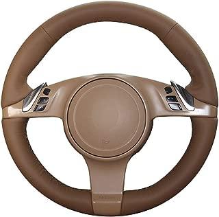 JI Loncky Genuine Leather Auto Custom Steering Wheel Cover for Porsche 911 Porsche 911 Carrera S/Porsche Boxster S Boxster Base/Porsche Cayenne Base Cayenne S/Porsche Panamera Accessories