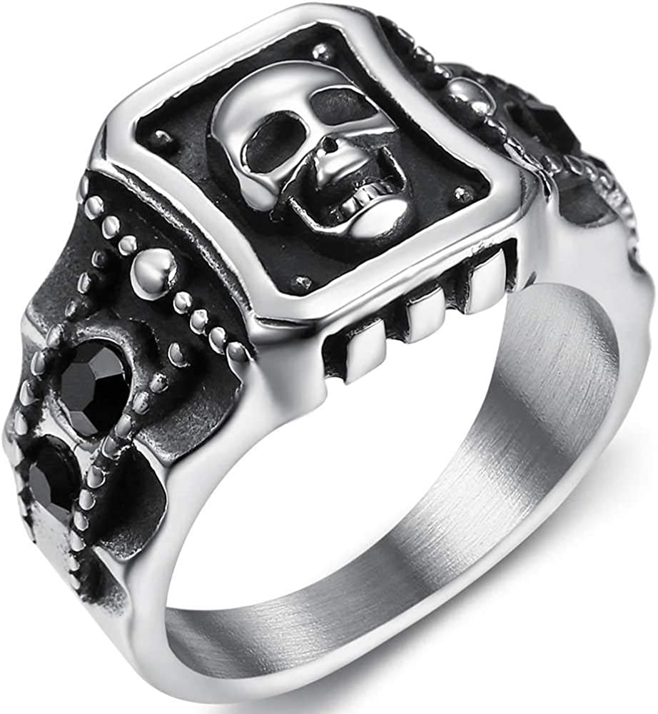 Jude Jewelers Stainless Steel Vintage Style Gothic Skull Halloween Biker Cocktail Party Statement Ring