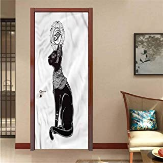 Occult,3D Door Wallpaper Egyptian Animal Spiritual for Home Decoration W17.1xH78.7
