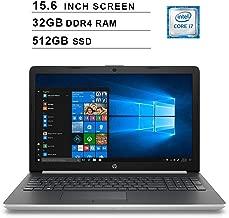HP 2019 Newest 15.6 Inch HD Laptop (Intel Quad Core i7-8550U up to 4.0 GHz, 32GB RAM, 512GB SSD, Intel HD Graphics 620, WiFi, Bluetooth, DVD, HDMI, Windows 10 Home) (Silver)