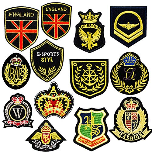 AGFXN - jiajutao 13Pcs Sew On Patches & Badges for Clothing Decoration or Repair, Embroidered Applique Iron On Patches for Jeans Jacket T-Shirt Caps Backpack Shoes