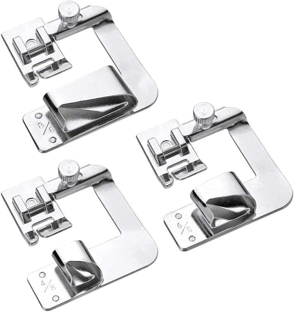 3 piezas de máquina de coser doméstica prensatelas con dobladillo enrollado para Brother Singer Janome Babylock Juki accesorios de máquina de coser (color: 3 piezas) Exquisito (Color : 3pcs)