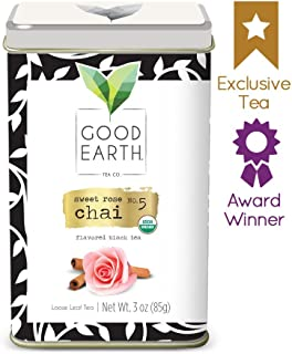 Good Earth Tea Sweet Rose Chai - Premium Organic Tea Sachets - Unique blend that combines traditional chai spice flavors with a beautiful floral twist - Flavored Black Tea