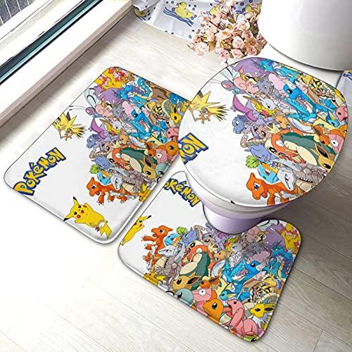 Pokemon Pikachu Tapis de salle de bain antidérapant 3 pièces Tapis de bain Tapis de bain Tapis de bain Tapis de bain Tapis antidérapant Tapis de bain Tapis de bain Mignon Tendance Animation
