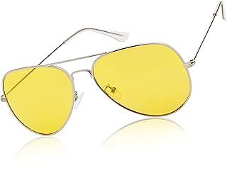 عینک دید در شب WZERRY برای رانندگی ، عینک رانندگی شبانه ضد قطبی Polarized Aviator قاب فلزی سبک
