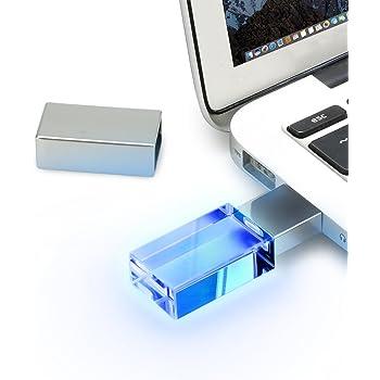 Pendrive USB 2.0 de 64 GB resistente al agua, transparente, con luz azul, para ordenadores, portátiles y notebooks: Amazon.es: Informática
