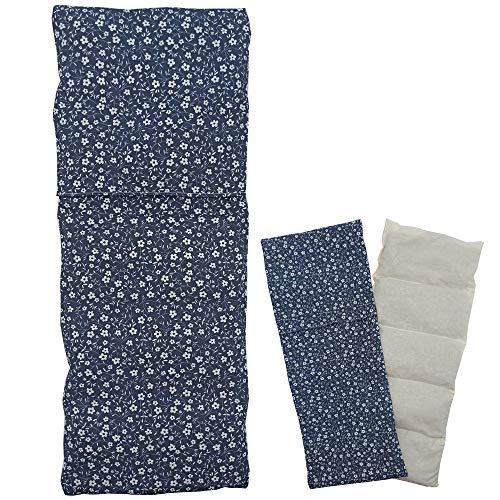 Cuscino termico 'FLOWERS - BLUE' - con coperchio lavabile - 50 x 20 cm (XL) - pieno di noccioli di ciliegia 800gr - effetto freddo/caldo . saco termiche