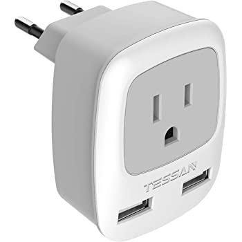 European Travel Plug Adapter, TESSAN International Power Plug with 2 USB, Type C Outlet Adaptor Charger for US to Most of Europe EU Spain Iceland Italy France Germany