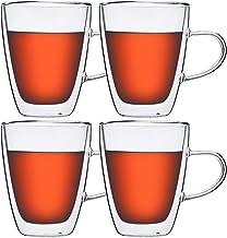 طقم من 4 قطع من كوب القهوة المعزول مزدوج الجدران بسعة 266 مل، أكواب شرب مع مقبض، لللاتيه والكابتشينو والإسبريسو والشاي