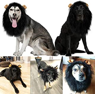 whorse Lions Mane for Large Dog Halloween Costumes, Pet Black White Wig with Ears