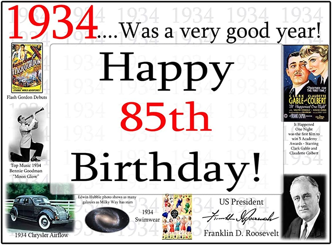 1934 85th Birthday Placemat 8 Pkg By Partypro