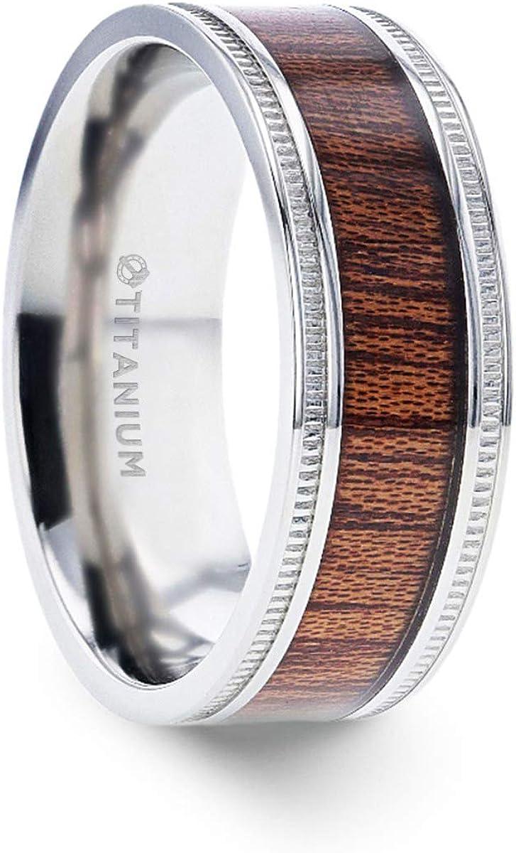 Thorsten Mocha Koa Wood Inlaid Titanium Men's Wedding Ring with Polished Milgrain Edges - 8mm