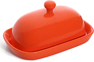 Sweese 306.106 Porcelain Cute Butter Dish with Lid, Perfect for East/West Butter, Orange