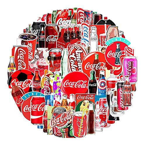 YZFCL Etiqueta engomada del Equipaje de la Marca de la Marea de Coca-Cola Etiqueta engomada Impermeable del refrigerador de la Historieta de la Taza de la Pasta del Coche de la Bici 76pcs