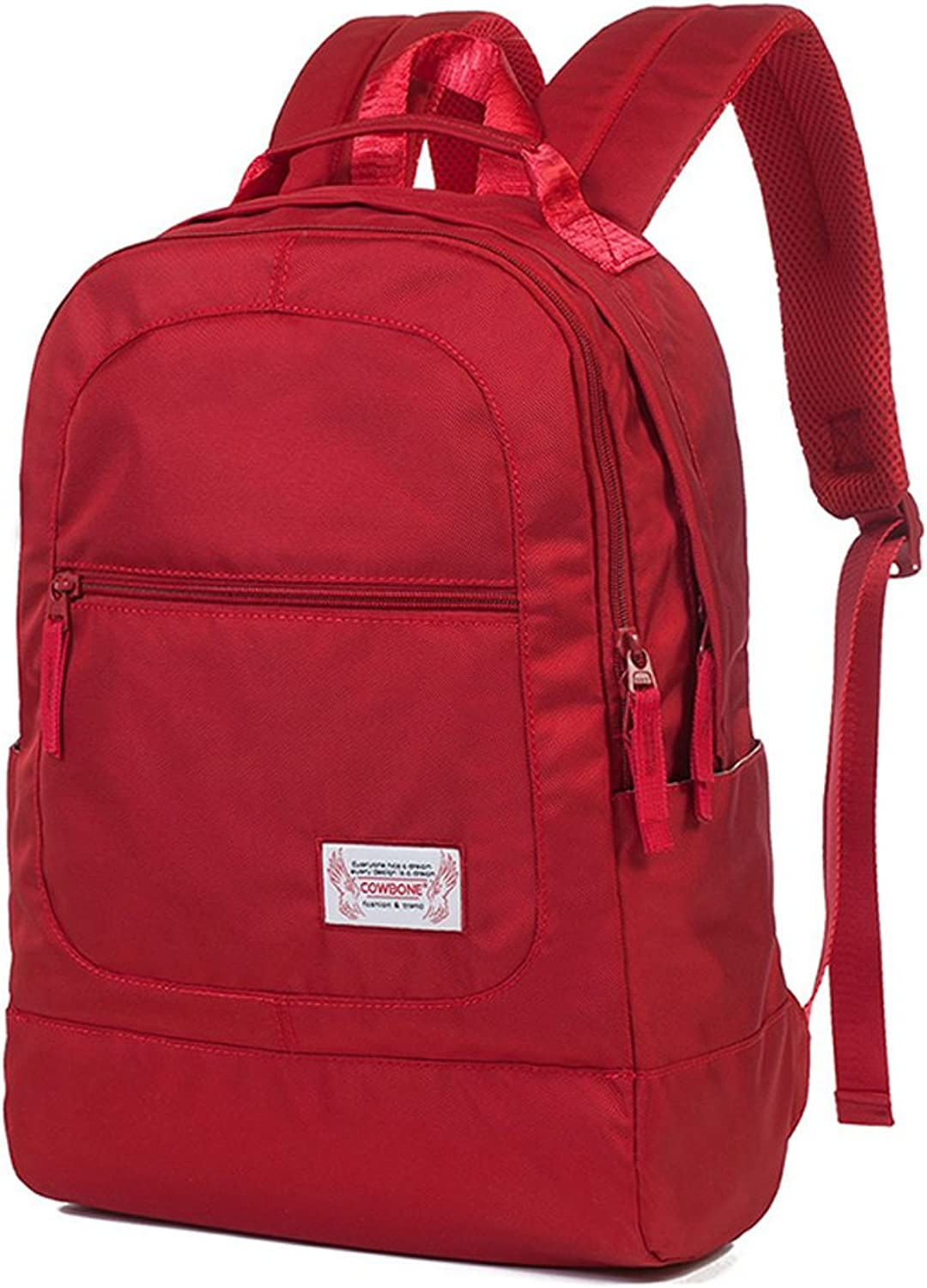 DEI QI Backpack Female College Wind Simple, Casual Travel Shopping Computer Backpack Waterproof, red Zipper Sports New Backpack
