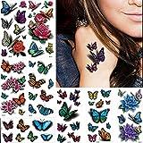 Tatuaggi temporanei 3D - farfalle, fiori, per corpo, petto, mani - decalcomanie rimovibili - 8fogli