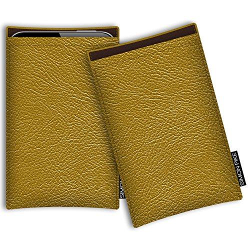SIMON PIKE Hülle Tasche kompatibel mit Microsoft Surface Duo | Schutztasche Boston in 02 Gold aus Kunstleder Handyhülle