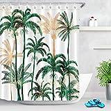 ECOTOB Palm Tree Shower Curtain for Bathroom, Tropical Hawaii Coconut Palm Trees Nature Paradise Plants Foliage Leaves Fabric Bathroom Decor Set with Shower Curtain Hooks, 60x72 Inch