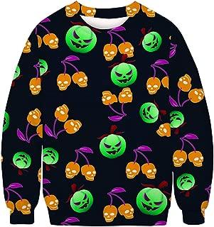 TTOOHHH Men's Autumn Winter Halloween Personality Printed Long Sleeve Sweatshirt Tops Pullover T-Shirt