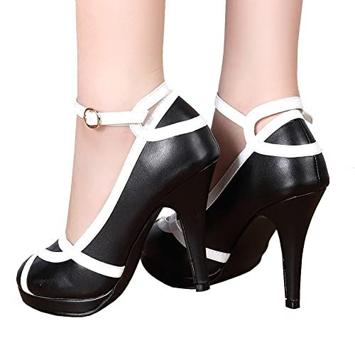 5e4d54b6749 getmorebeauty Women s Vintage Retro Black and White Ankle Strappy Buckle  Dress High Heels