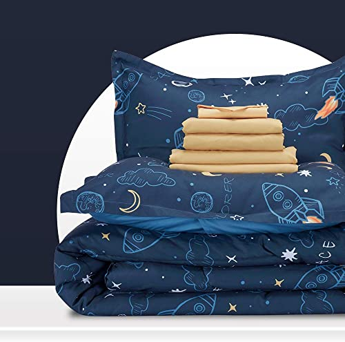 SLEEP ZONE Kids Bed-in-a-Bag Bedding Set Easy-Care Microfiber Ultra Soft Comforter and Sheet Sets with Shams 7 Pieces...