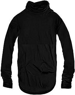 スワンユニオン swanunion 指穴付き ハイネック タートルネック メンズ ロング丈 長袖 Tシャツ ブラック 黒 f80