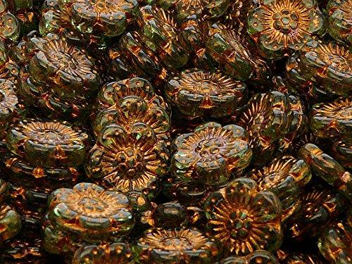 4pz Flower Beads - Pressate Perle di Vetro ceche in Forma di Fiore 14mm, Un Foro, Green Peridot with Bronze Fired Color