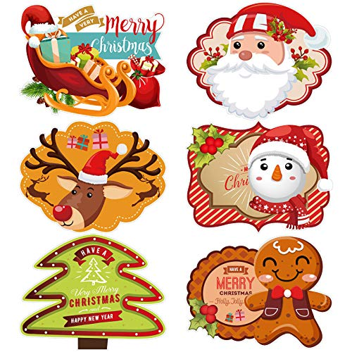 Aneco 6 Pack Christmas Plastic Placemats Place Mats Table Placemats Santa Snowman Plastic Placemats for Christmas Party Gift Supplies