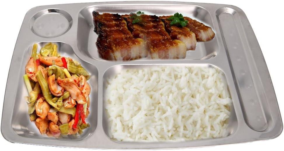 Bandeja de cena de almuerzo, plato de comida 4/5/6 sección,Contenedor dividido de acero inoxidable
