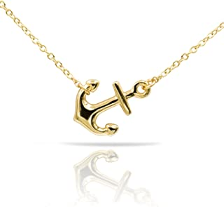 womens gold anchor necklace