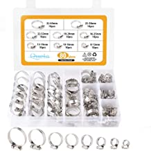Abrazaderas de manguera Kit de acero inoxidable 304 anillos de clip sin orejas de un solo orificio 140PCS kit surtido 7-21 mm